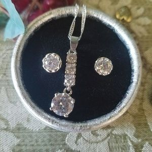 Back in STOCK!! 18k GF pendant and CZ studs.